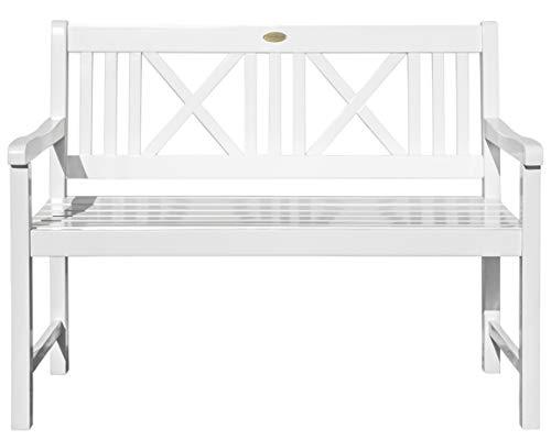 schöne, weiß lackierte Landhausbank, 2-Sitzer, Eukalyptus FSC, Modell LÜBECK