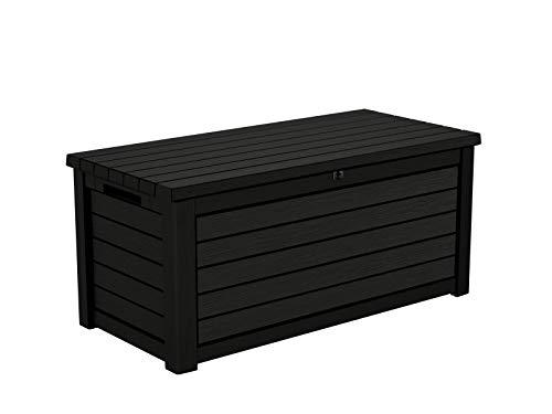 Gartentruhe / Aufbewahrungsbox Blackwood | 630 Liter Inhalt | trockener & belüfteter Stauraum | Gasdruckfedern | Deckel bis zu 350 kg belastbar