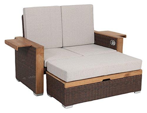greemotion Rattan-Lounge Sofa & Bett aus Polyrattan & Akazienholz, 2er Garten-Sofa mit Stahl-Gestell, Daybed braun