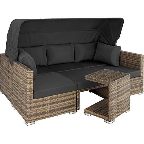 Aluminium Poly Rattan Lounge Set Garten Sofa mit Sonnendach Outdoor Sitzgruppe inkl. Kissen und Beistelltisch