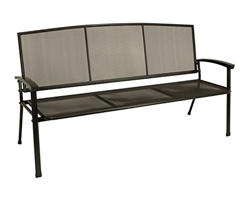 3-sitzer Gartenbank XL aus Streckmetall, 171cm breit, eisengrau, wetterfest