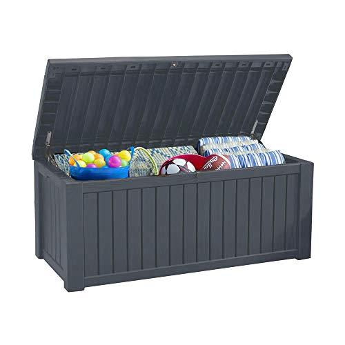 Gartentruhe / Kissenbox 570 Liter l 100% wasserdicht und mit Belüftung  l moderne Holzoptik l Deckel belastbar bis 250 kg (Anthrazit)