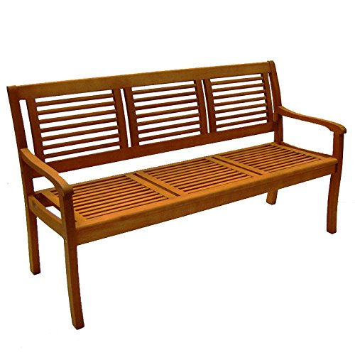 Casaya Gartenbank Teakoptik, Paolo 3-Sitzer aus Eukalyptus Hartholz