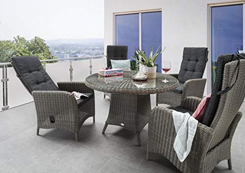 9-teilige Sitzgruppe Luna, Vintage Grau, Gartenmöbelset Polyrattan, verstellbare Lehnen