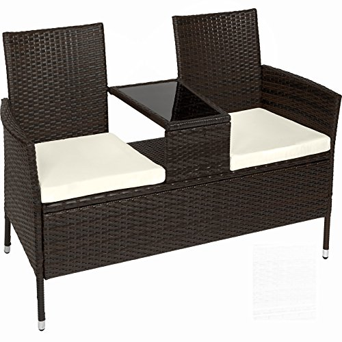 Sitzbank mit Tisch aus Polyrattan und Stauraum – hübsches Gartensofa inkl. Sitzkissen